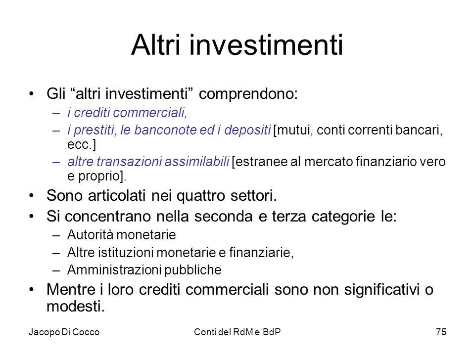 """Jacopo Di CoccoConti del RdM e BdP75 Altri investimenti Gli """"altri investimenti"""" comprendono: –i crediti commerciali, –i prestiti, le banconote ed i d"""