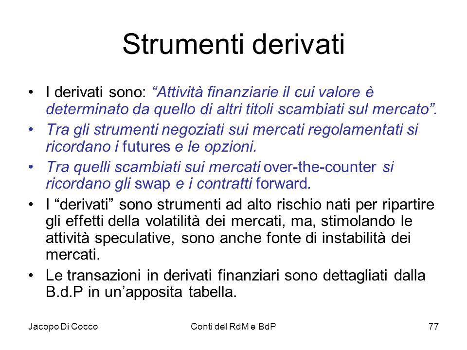 """Jacopo Di CoccoConti del RdM e BdP77 Strumenti derivati I derivati sono: """"Attività finanziarie il cui valore è determinato da quello di altri titoli s"""