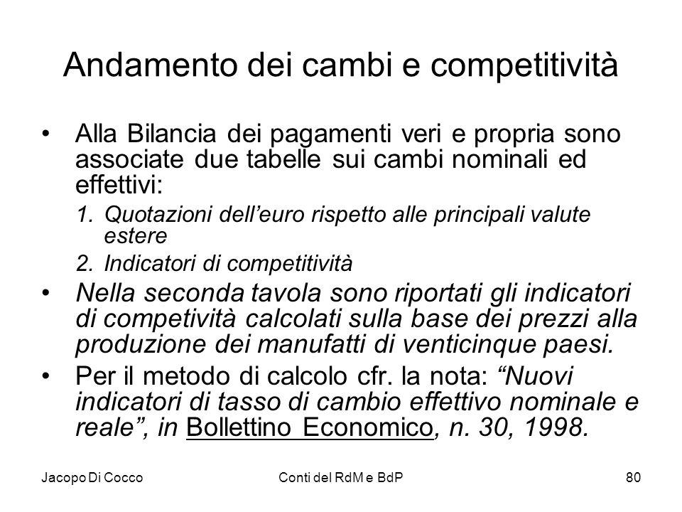 Jacopo Di CoccoConti del RdM e BdP80 Andamento dei cambi e competitività Alla Bilancia dei pagamenti veri e propria sono associate due tabelle sui cam
