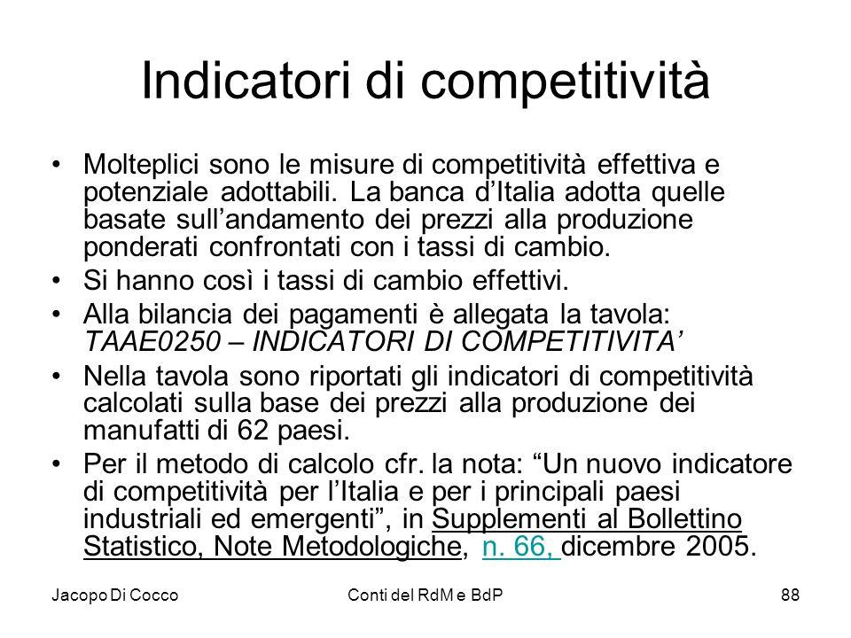 Jacopo Di CoccoConti del RdM e BdP88 Indicatori di competitività Molteplici sono le misure di competitività effettiva e potenziale adottabili. La banc
