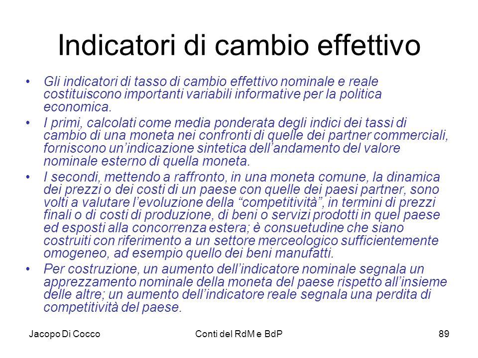 Jacopo Di CoccoConti del RdM e BdP89 Indicatori di cambio effettivo Gli indicatori di tasso di cambio effettivo nominale e reale costituiscono importa