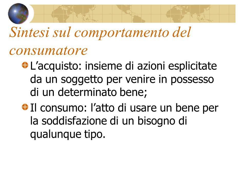 Il consumo: metodi di analisi Il consumo è fenomeno complesso, dalla sua analisi sono derivati diversi strumenti interpretativi: Utilità; Utilità marginale; Propensione al consumo; Funzione di consumo.