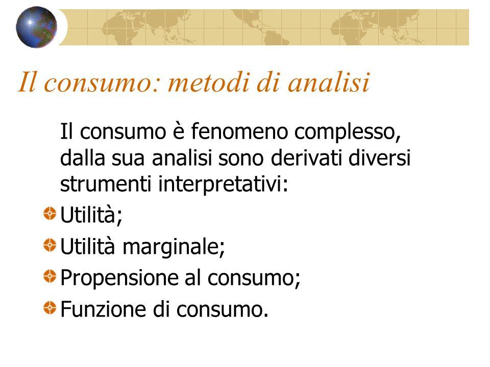 Prospettive di analisi del consumo: Sociologica: basata sullo studio delle masse e dei gruppi; Psicologica: basata sulle caratteristiche dell'individuo e sulle sue capacità a raggiungere la soddisfazione personale.
