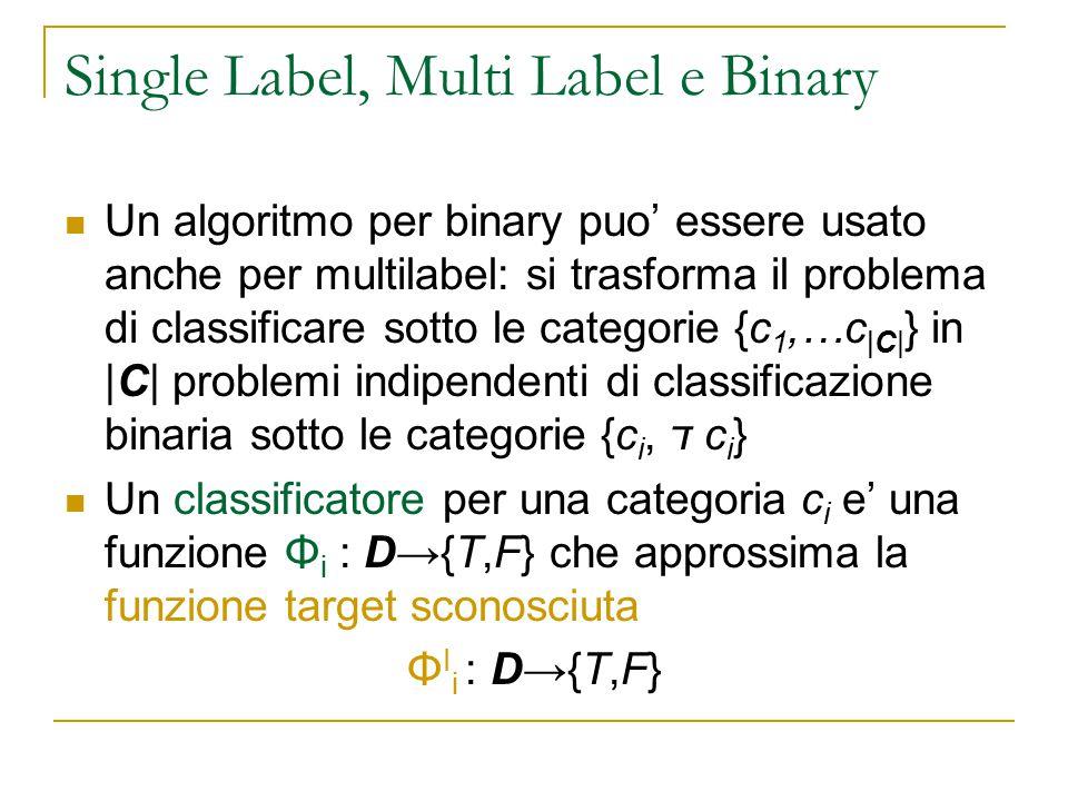 Single Label, Multi Label e Binary Un algoritmo per binary puo' essere usato anche per multilabel: si trasforma il problema di classificare sotto le c