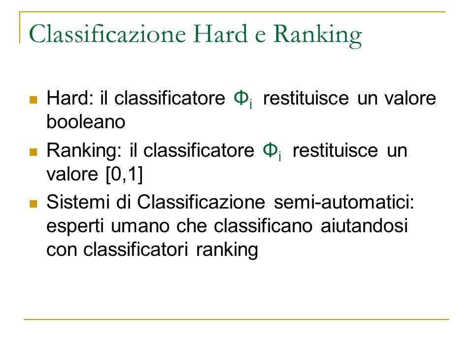Classificazione Hard e Ranking Hard: il classificatore Φ i restituisce un valore booleano Ranking: il classificatore Φ i restituisce un valore [0,1] S