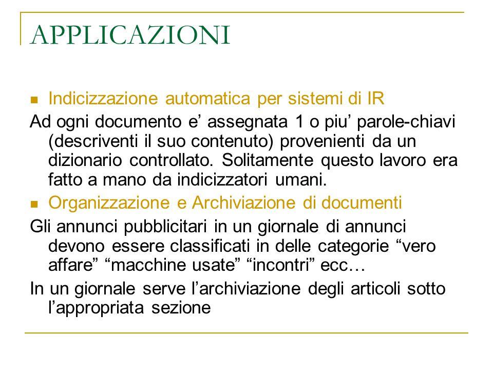 APPLICAZIONI Indicizzazione automatica per sistemi di IR Ad ogni documento e' assegnata 1 o piu' parole-chiavi (descriventi il suo contenuto) provenie