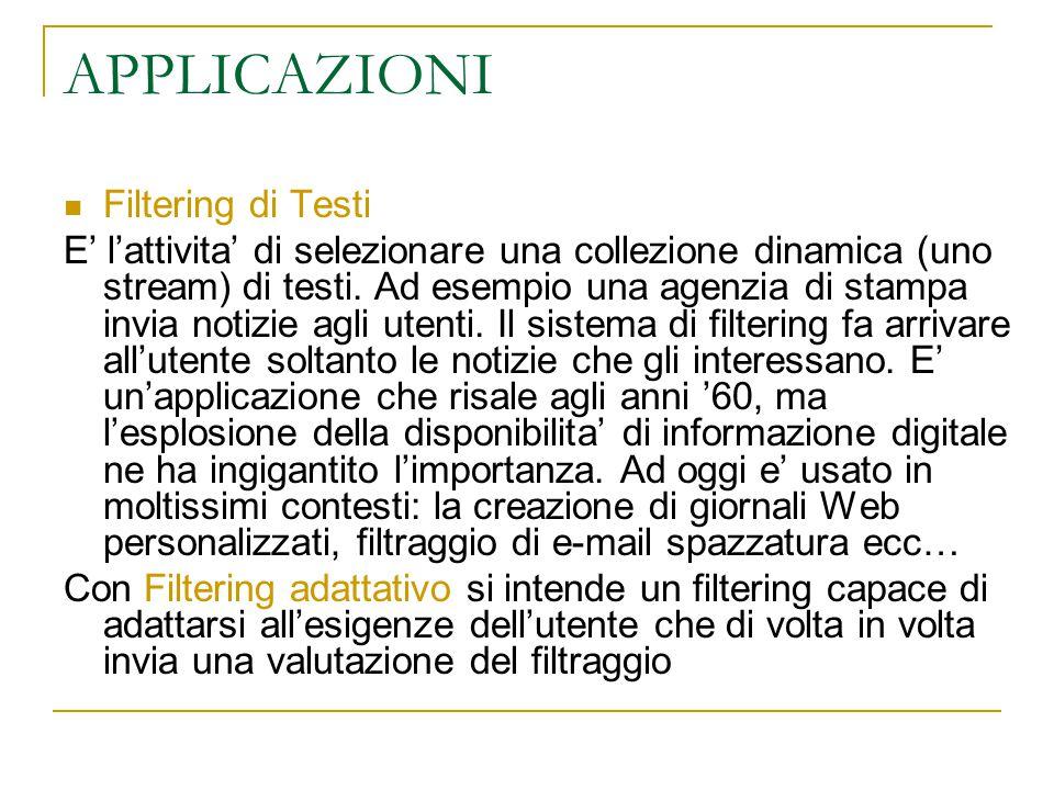 APPLICAZIONI Filtering di Testi E' l'attivita' di selezionare una collezione dinamica (uno stream) di testi. Ad esempio una agenzia di stampa invia no