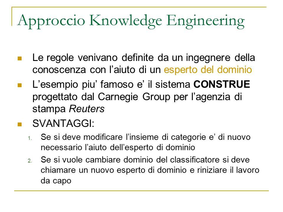 Approccio Knowledge Engineering Le regole venivano definite da un ingegnere della conoscenza con l'aiuto di un esperto del dominio L'esempio piu' famo