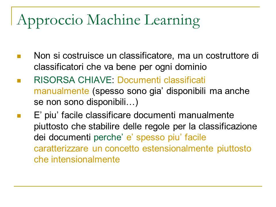 Approccio Machine Learning Non si costruisce un classificatore, ma un costruttore di classificatori che va bene per ogni dominio RISORSA CHIAVE: Docum