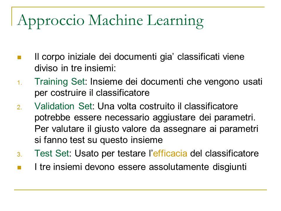 Approccio Machine Learning Il corpo iniziale dei documenti gia' classificati viene diviso in tre insiemi: 1. Training Set: Insieme dei documenti che v