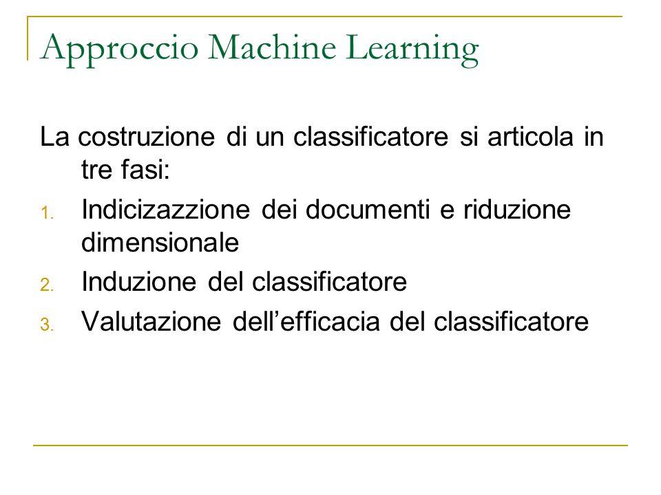 Approccio Machine Learning La costruzione di un classificatore si articola in tre fasi: 1. Indicizazzione dei documenti e riduzione dimensionale 2. In