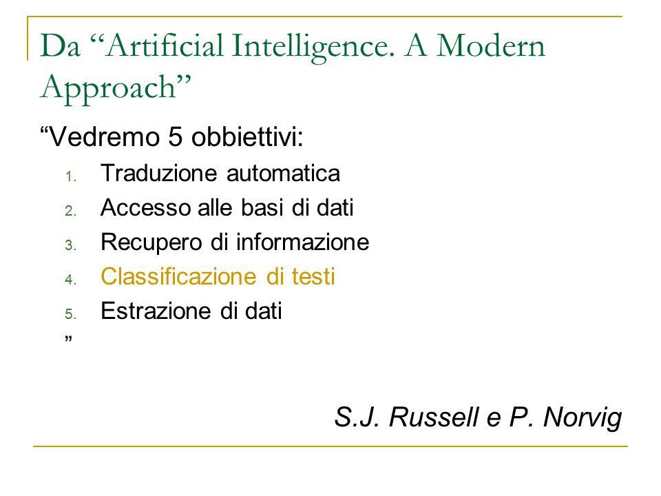 """Da """"Artificial Intelligence. A Modern Approach"""" """"Vedremo 5 obbiettivi: 1. Traduzione automatica 2. Accesso alle basi di dati 3. Recupero di informazio"""