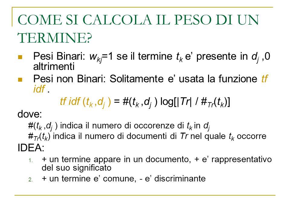 COME SI CALCOLA IL PESO DI UN TERMINE? Pesi Binari: w kj =1 se il termine t k e' presente in d j,0 altrimenti Pesi non Binari: Solitamente e' usata la