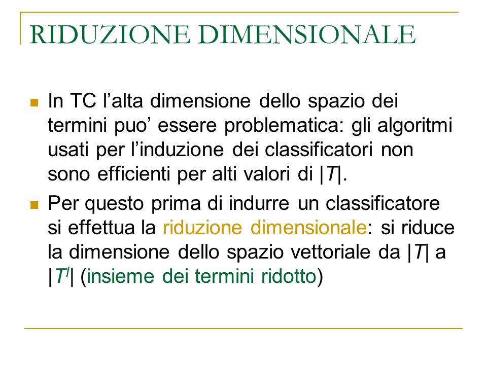 RIDUZIONE DIMENSIONALE In TC l'alta dimensione dello spazio dei termini puo' essere problematica: gli algoritmi usati per l'induzione dei classificato