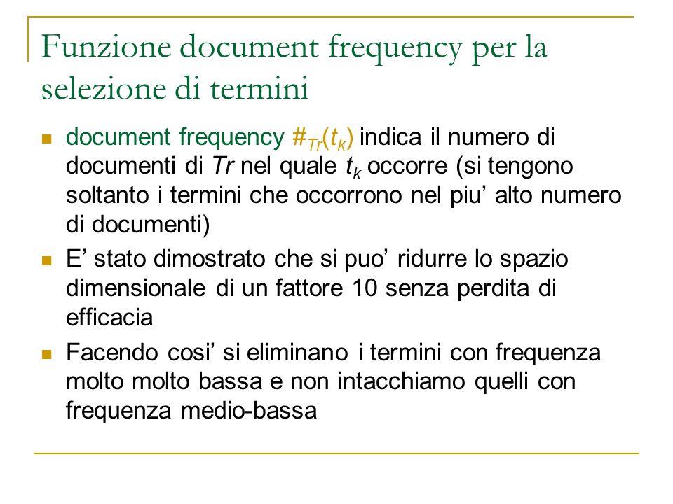 Funzione document frequency per la selezione di termini document frequency # Tr (t k ) indica il numero di documenti di Tr nel quale t k occorre (si t