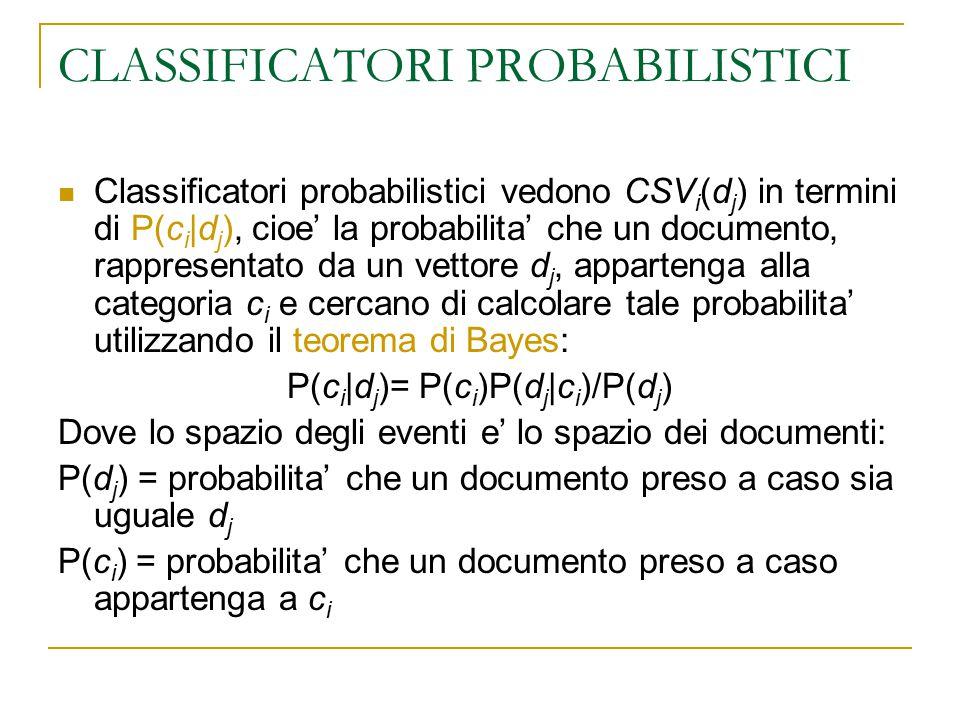 CLASSIFICATORI PROBABILISTICI Classificatori probabilistici vedono CSV i (d j ) in termini di P(c i |d j ), cioe' la probabilita' che un documento, ra