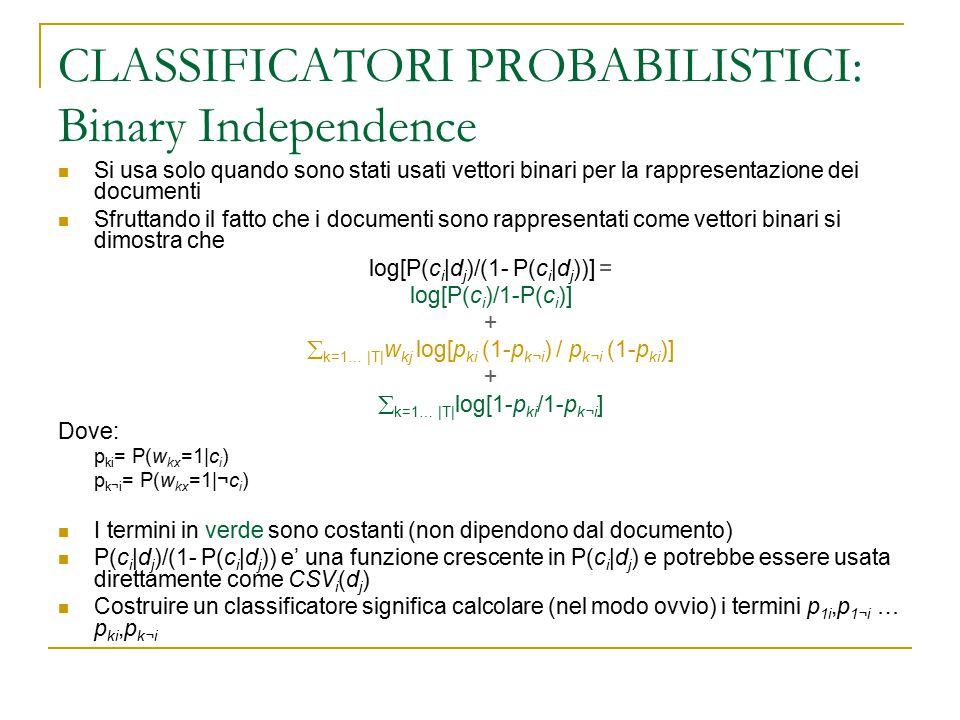 CLASSIFICATORI PROBABILISTICI: Binary Independence Si usa solo quando sono stati usati vettori binari per la rappresentazione dei documenti Sfruttando