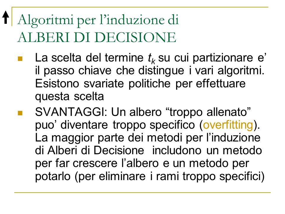 Algoritmi per l'induzione di ALBERI DI DECISIONE La scelta del termine t k su cui partizionare e' il passo chiave che distingue i vari algoritmi. Esis