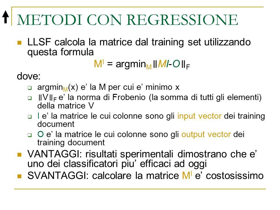 METODI CON REGRESSIONE LLSF calcola la matrice dal training set utilizzando questa formula M I = argmin M ॥ MI-O ॥ F dove:  argmin M (x) e' la M per