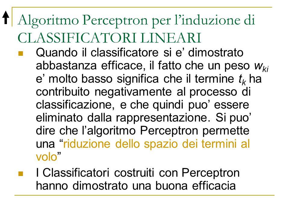 Algoritmo Perceptron per l'induzione di CLASSIFICATORI LINEARI Quando il classificatore si e' dimostrato abbastanza efficace, il fatto che un peso w k