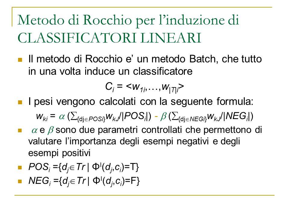 Metodo di Rocchio per l'induzione di CLASSIFICATORI LINEARI Il metodo di Rocchio e' un metodo Batch, che tutto in una volta induce un classificatore C