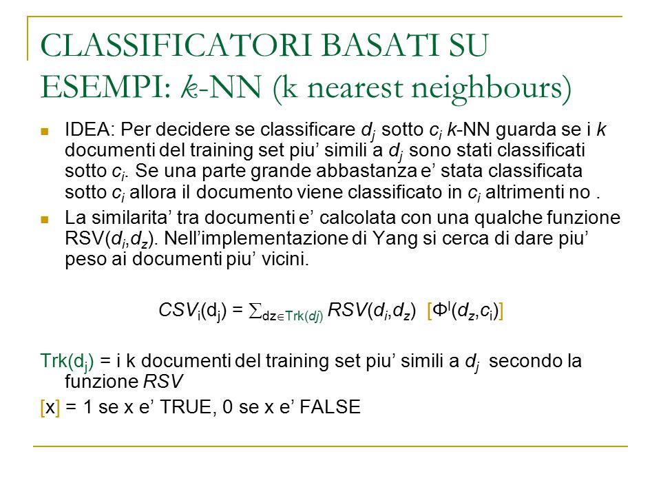 CLASSIFICATORI BASATI SU ESEMPI: k-NN (k nearest neighbours) IDEA: Per decidere se classificare d j sotto c i k-NN guarda se i k documenti del trainin