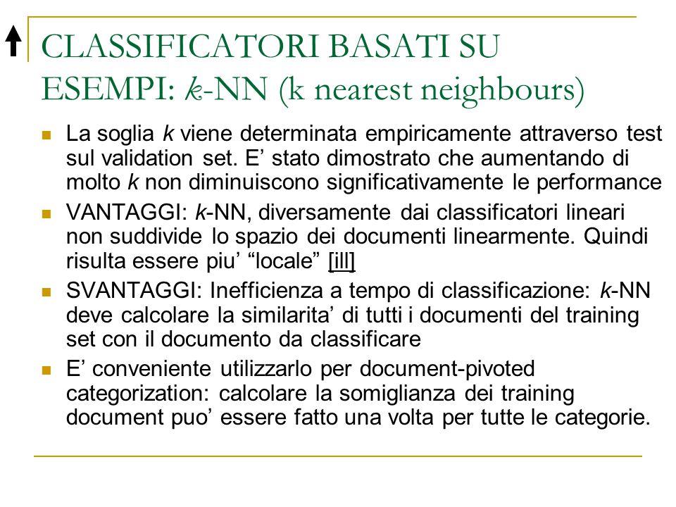 CLASSIFICATORI BASATI SU ESEMPI: k-NN (k nearest neighbours) La soglia k viene determinata empiricamente attraverso test sul validation set. E' stato