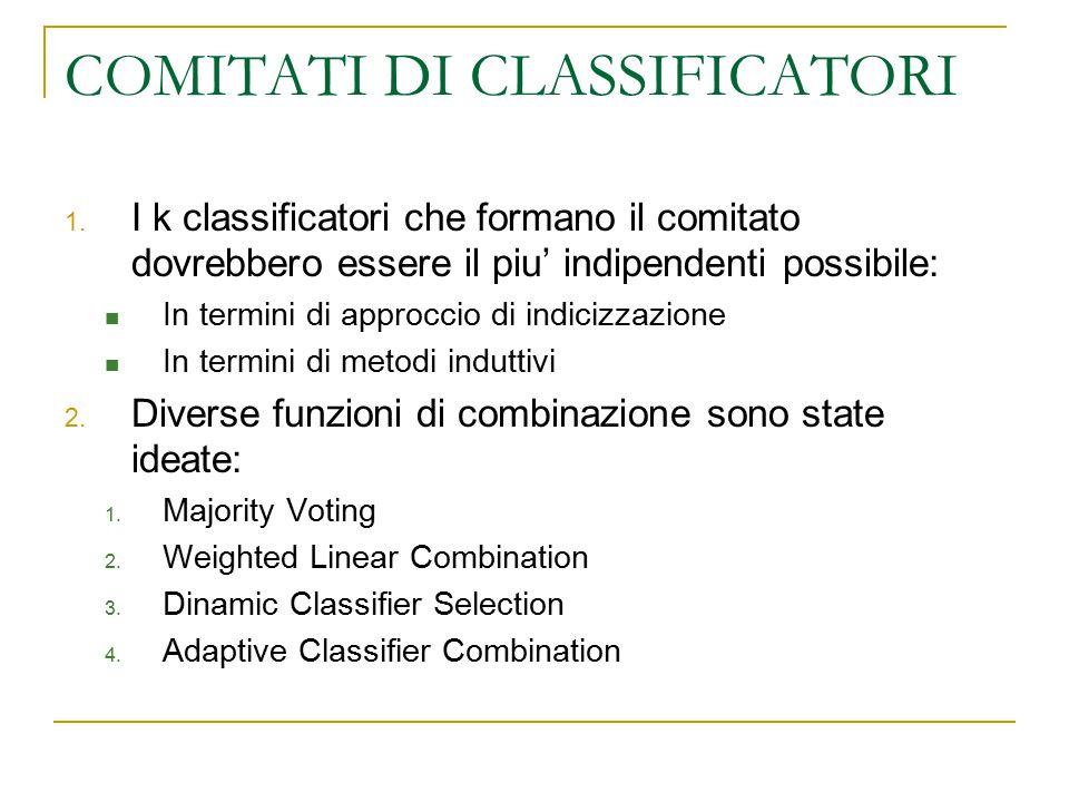 COMITATI DI CLASSIFICATORI 1. I k classificatori che formano il comitato dovrebbero essere il piu' indipendenti possibile: In termini di approccio di