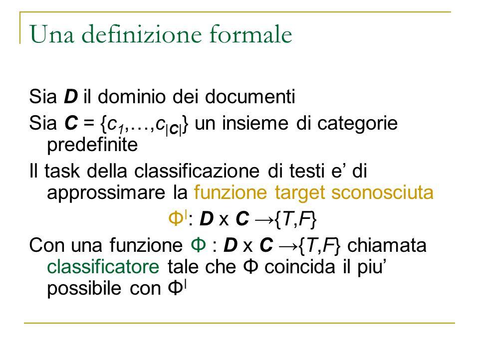 Una definizione formale Sia D il dominio dei documenti Sia C = {c 1,…,c |C| } un insieme di categorie predefinite Il task della classificazione di tes