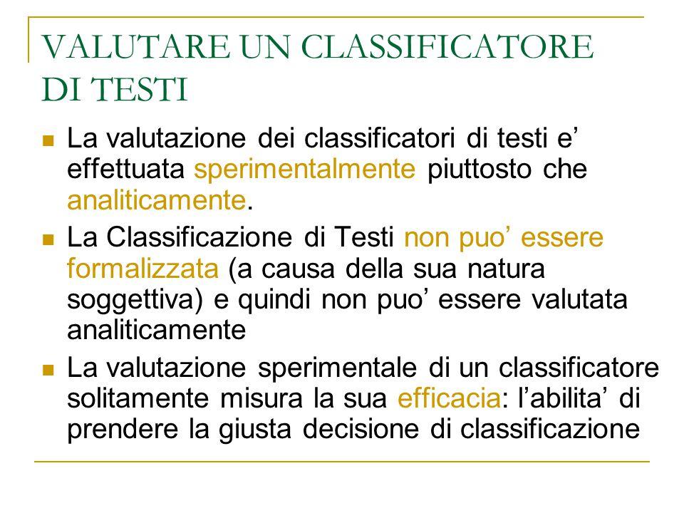 VALUTARE UN CLASSIFICATORE DI TESTI La valutazione dei classificatori di testi e' effettuata sperimentalmente piuttosto che analiticamente. La Classif