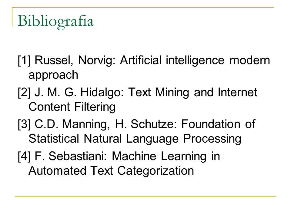 Bibliografia [1] Russel, Norvig: Artificial intelligence modern approach [2] J. M. G. Hidalgo: Text Mining and Internet Content Filtering [3] C.D. Man