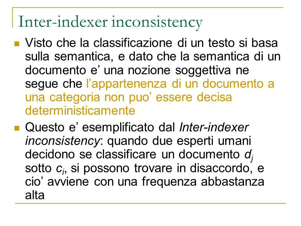 Inter-indexer inconsistency Visto che la classificazione di un testo si basa sulla semantica, e dato che la semantica di un documento e' una nozione s