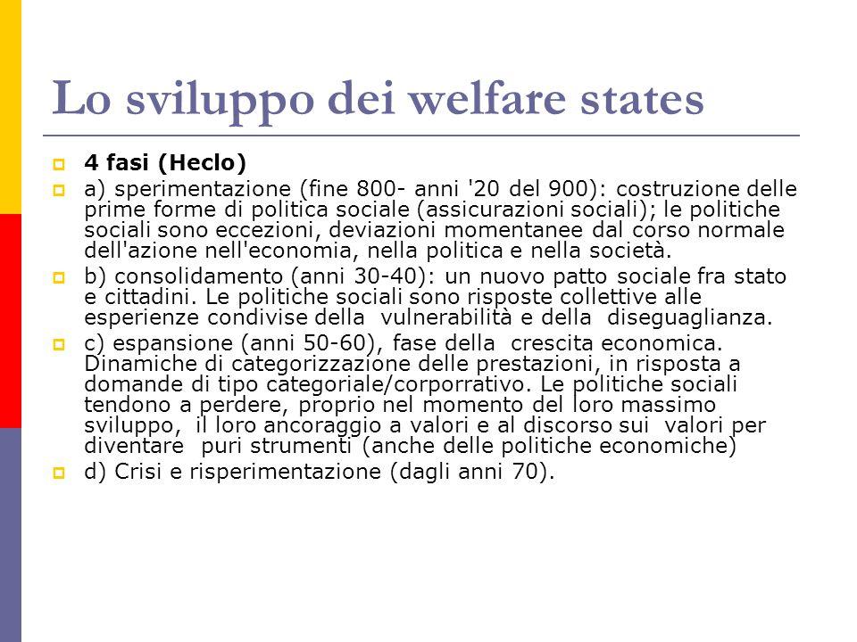 Lo sviluppo dei welfare states  4 fasi (Heclo)  a) sperimentazione (fine 800- anni 20 del 900): costruzione delle prime forme di politica sociale (assicurazioni sociali); le politiche sociali sono eccezioni, deviazioni momentanee dal corso normale dell azione nell economia, nella politica e nella società.