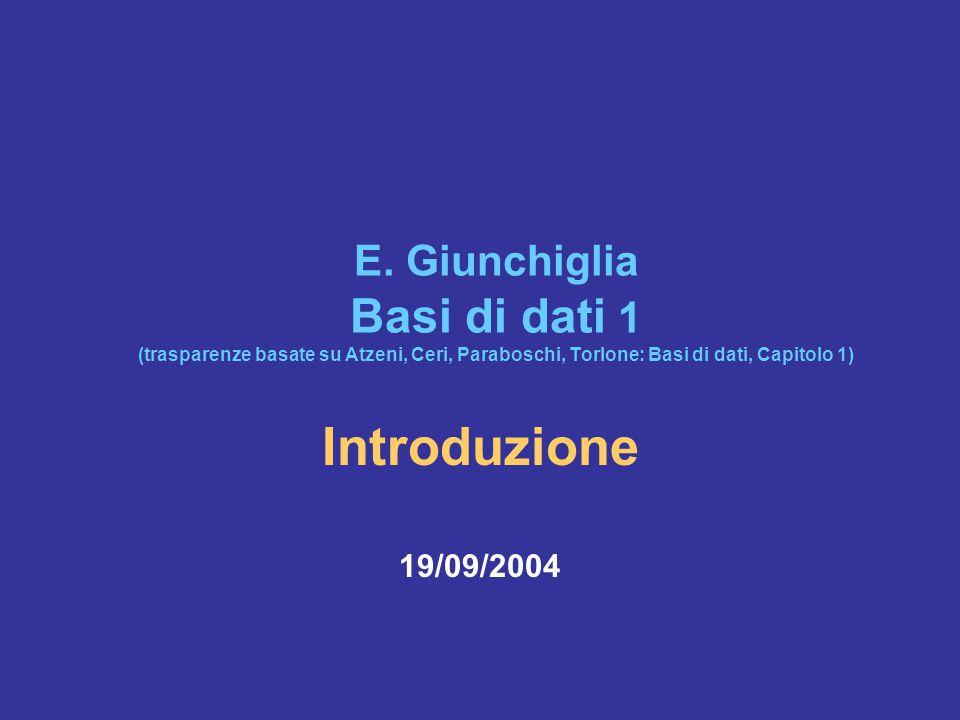 17/9/2004Basi di Dati 1: Introduzione72 Quali delle seguenti affermazioni sono vere.