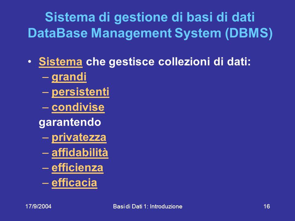 17/9/2004Basi di Dati 1: Introduzione16 Sistema di gestione di basi di dati DataBase Management System (DBMS) Sistema che gestisce collezioni di dati:Sistema –grandigrandi –persistentipersistenti –condivisecondivise garantendo –privatezzaprivatezza –affidabilitàaffidabilità –efficienzaefficienza –efficaciaefficacia