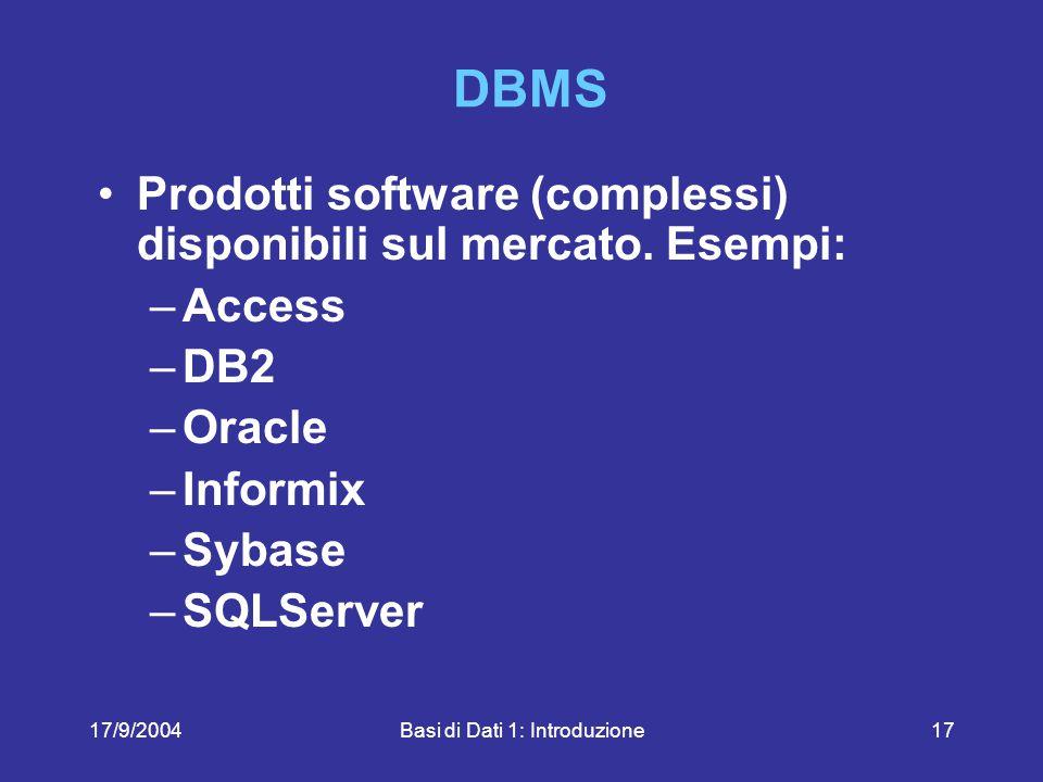 17/9/2004Basi di Dati 1: Introduzione17 DBMS Prodotti software (complessi) disponibili sul mercato.