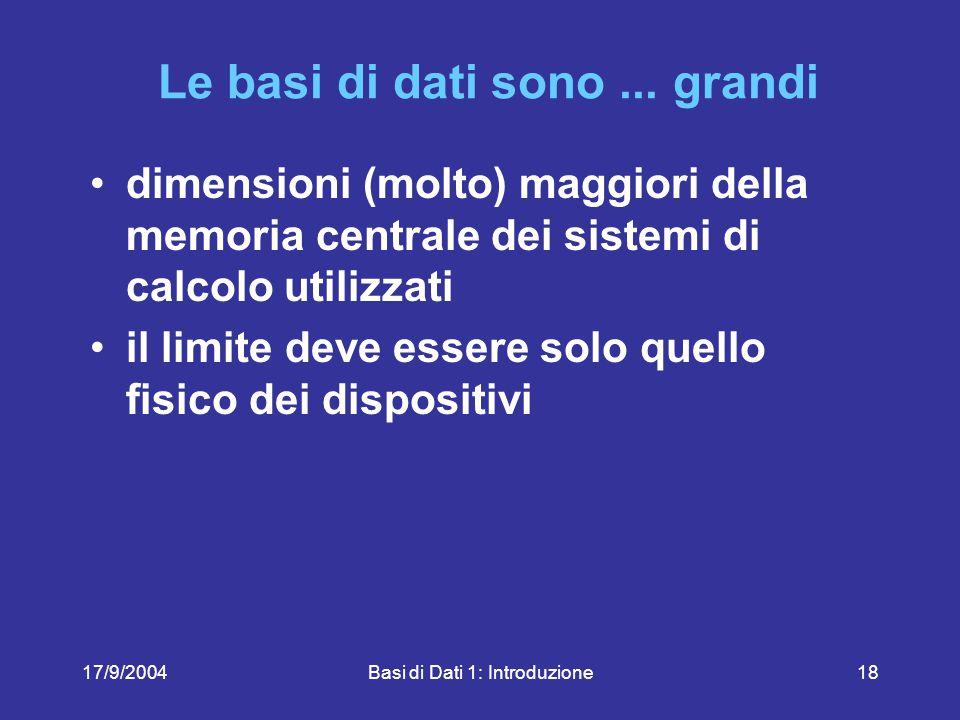 17/9/2004Basi di Dati 1: Introduzione18 Le basi di dati sono...
