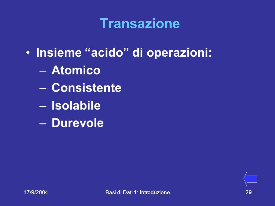 17/9/2004Basi di Dati 1: Introduzione29 Transazione Insieme acido di operazioni: – Atomico – Consistente – Isolabile – Durevole