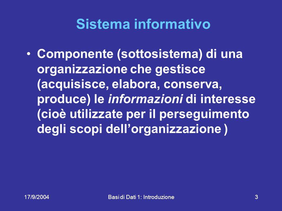 17/9/2004Basi di Dati 1: Introduzione74 Illustrare, in modo sintetico ma chiaro, supponendo di rivolgersi ad un non esperto,le caratteristiche fondamentali delle basi di dati e il ruolo che esse giocano nei sistemi informativi.
