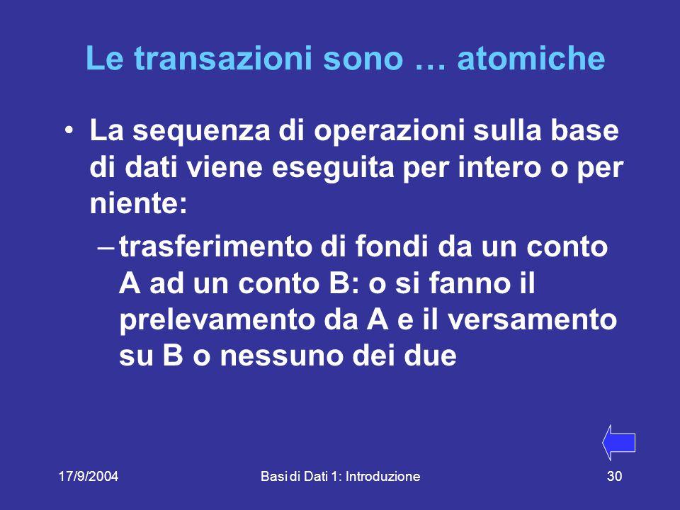17/9/2004Basi di Dati 1: Introduzione30 Le transazioni sono … atomiche La sequenza di operazioni sulla base di dati viene eseguita per intero o per niente: –trasferimento di fondi da un conto A ad un conto B: o si fanno il prelevamento da A e il versamento su B o nessuno dei due