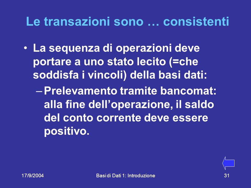 17/9/2004Basi di Dati 1: Introduzione31 Le transazioni sono … consistenti La sequenza di operazioni deve portare a uno stato lecito (=che soddisfa i vincoli) della basi dati: –Prelevamento tramite bancomat: alla fine dell'operazione, il saldo del conto corrente deve essere positivo.