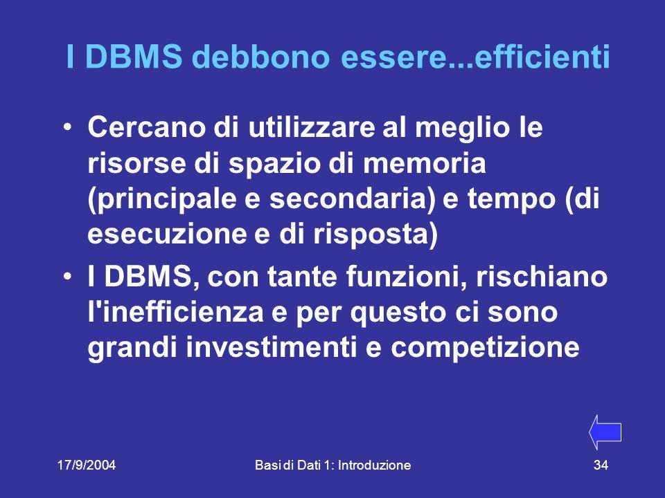 17/9/2004Basi di Dati 1: Introduzione34 I DBMS debbono essere...efficienti Cercano di utilizzare al meglio le risorse di spazio di memoria (principale e secondaria) e tempo (di esecuzione e di risposta) I DBMS, con tante funzioni, rischiano l inefficienza e per questo ci sono grandi investimenti e competizione