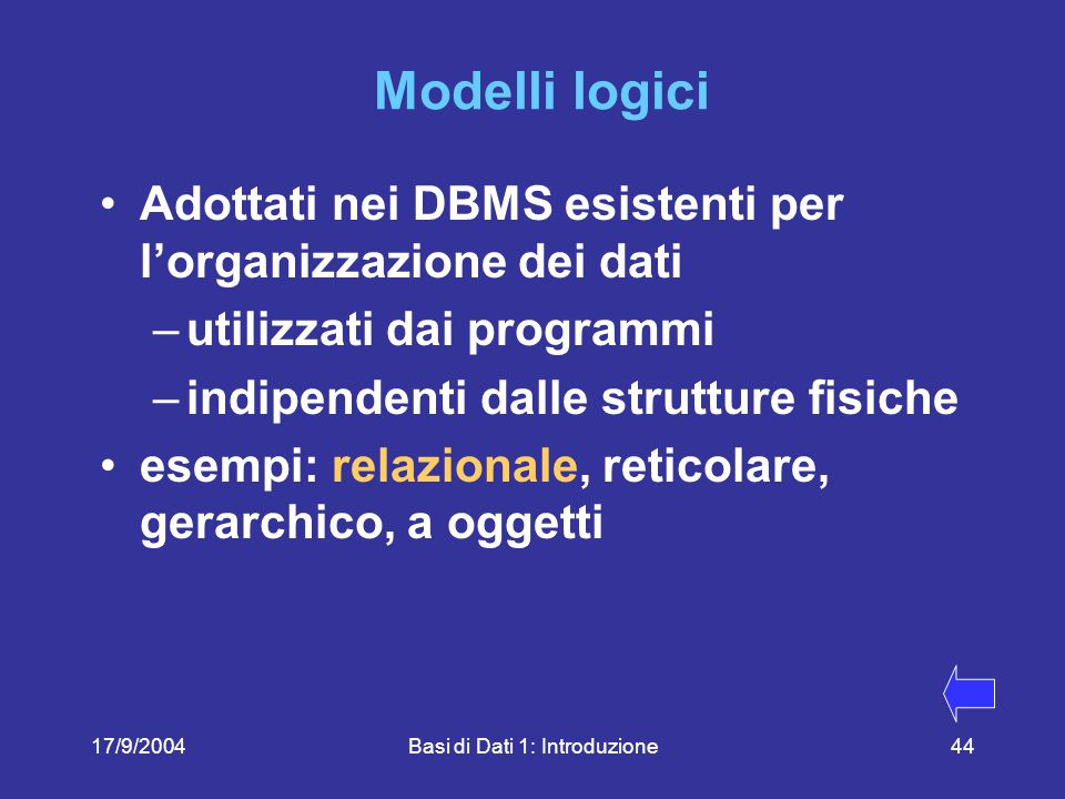 17/9/2004Basi di Dati 1: Introduzione44 Modelli logici Adottati nei DBMS esistenti per l'organizzazione dei dati –utilizzati dai programmi –indipendenti dalle strutture fisiche esempi: relazionale, reticolare, gerarchico, a oggetti