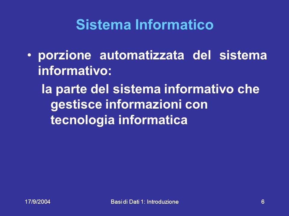 17/9/2004Basi di Dati 1: Introduzione57 SQL, un linguaggio interattivo SELECT Corso, Aula, Piano FROM Aule, Corsi WHERE Nome = Aula AND Piano = Terra Corso Aula Reti N3 Sistemi N3 Piano Terra