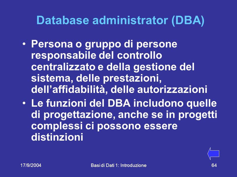 17/9/2004Basi di Dati 1: Introduzione64 Database administrator (DBA) Persona o gruppo di persone responsabile del controllo centralizzato e della gestione del sistema, delle prestazioni, dell'affidabilità, delle autorizzazioni Le funzioni del DBA includono quelle di progettazione, anche se in progetti complessi ci possono essere distinzioni