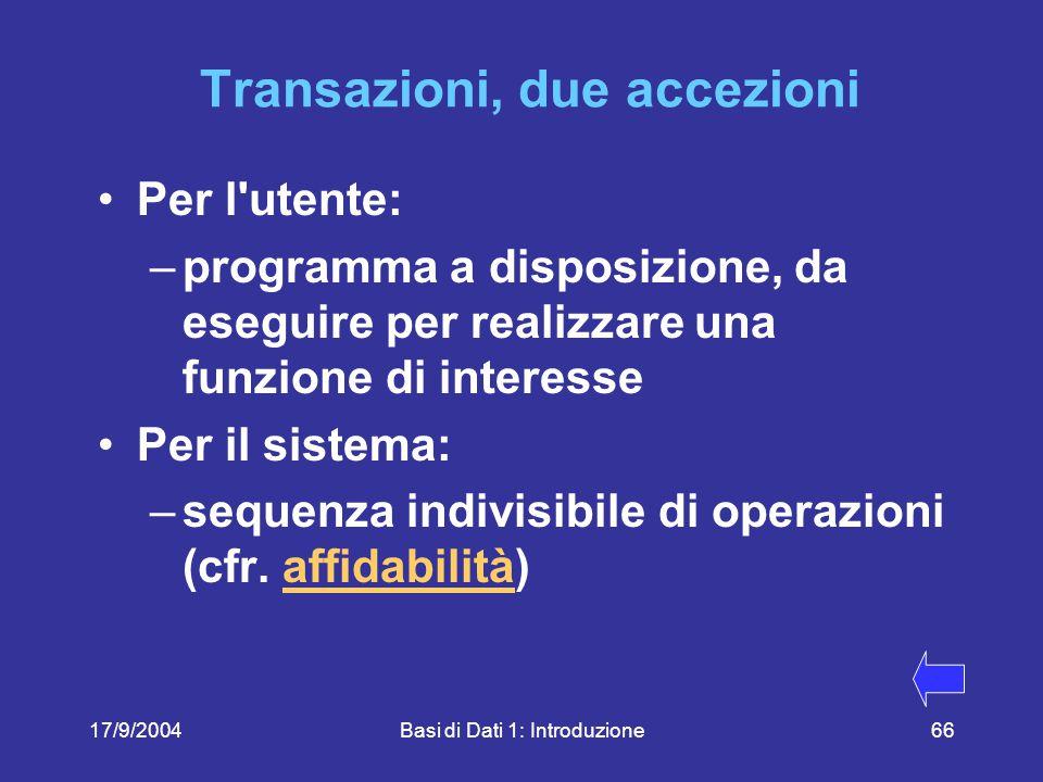 17/9/2004Basi di Dati 1: Introduzione66 Transazioni, due accezioni Per l utente: –programma a disposizione, da eseguire per realizzare una funzione di interesse Per il sistema: –sequenza indivisibile di operazioni (cfr.