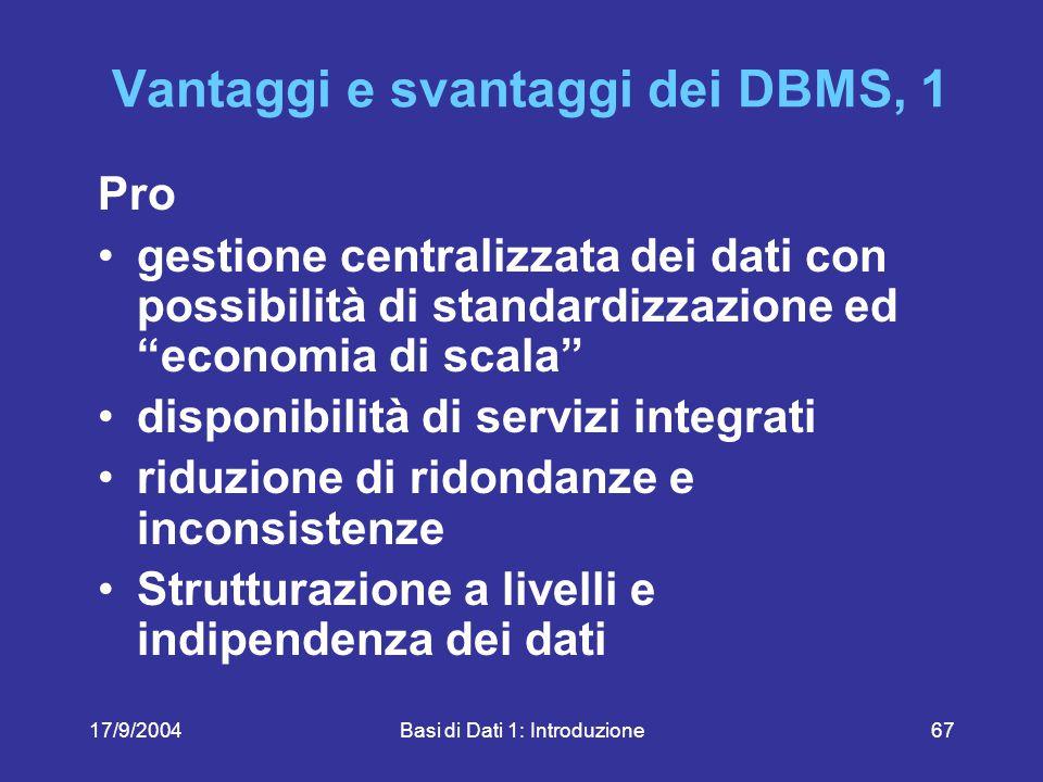 17/9/2004Basi di Dati 1: Introduzione67 Vantaggi e svantaggi dei DBMS, 1 Pro gestione centralizzata dei dati con possibilità di standardizzazione ed economia di scala disponibilità di servizi integrati riduzione di ridondanze e inconsistenze Strutturazione a livelli e indipendenza dei dati