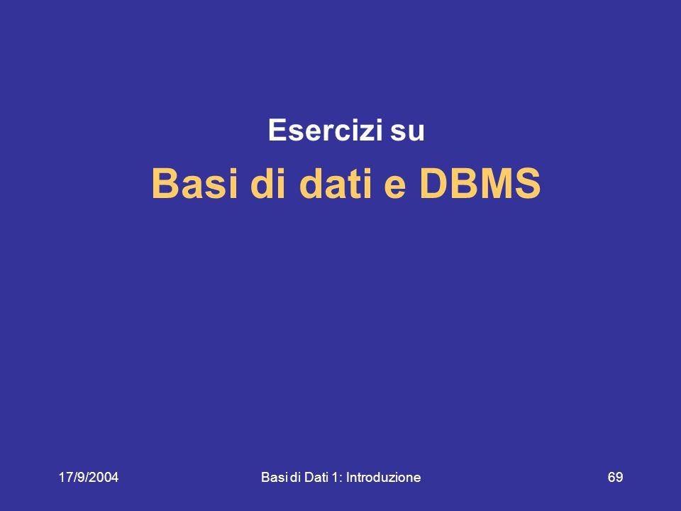 17/9/2004Basi di Dati 1: Introduzione69 Esercizi su Basi di dati e DBMS