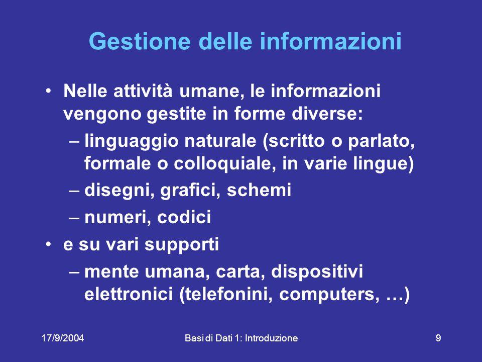 17/9/2004Basi di Dati 1: Introduzione70 Quali delle seguenti affermazioni sono vere.
