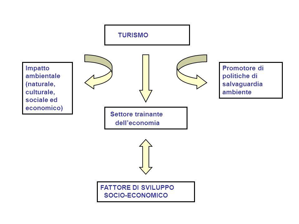 TURISMO Impatto ambientale (naturale, culturale, sociale ed economico) Settore trainante dell'economia Promotore di politiche di salvaguardia ambiente